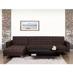 Sofa ciemnobrązowa - kanapa - tapicerowana - rozkładana - ABERDEEN, kolor brązowy