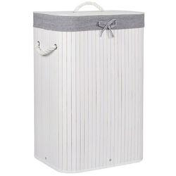 Kosz na pranie 72L pojemnik z klapą bambus naturalny biało-szary