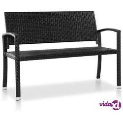 ławka ogrodowa, 122 cm, polirattan, czarna marki Vidaxl