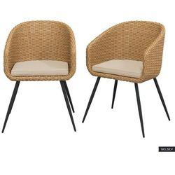 zestaw dwóch krzeseł ogrodowych kencur jasny technorattan z beżowym siedziskiem marki Selsey