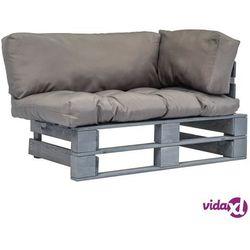 vidaXL Sofa ogrodowa z palet z szarymi poduszkami, sosnowe drewno FSC (8718475727897)