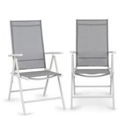 Blumfeldt almeria krzesło składane zestaw 2 szt. 59,5x107x68 cm comfortmesh aluminium białe (4060656152160)