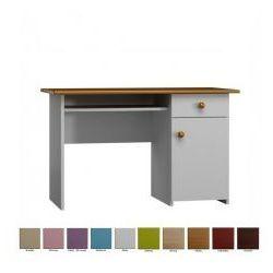 Drewniane biurko z szufladą i szafką, kolory