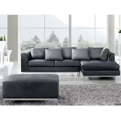 Nowoczesna sofa z pufa ze skóry naturalnej kolor czarny L - kanapa OSLO - produkt z kategorii- sofy