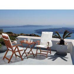Meble ogrodowe - balkonowe - drewniane - stół z 2 krzesłami z 2 beżowymi poduchami - TOSCANA
