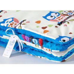 MAMO-TATO Kocyk Minky dwustronny Sówki kremowe D / niebieski
