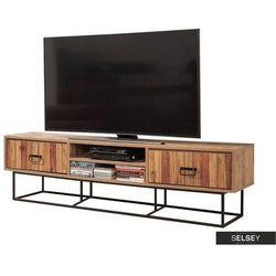 Selsey szafka rtv kolosu 180 cm sosnowa z dekorem drewnianych listewek na frontach (5903025271941)