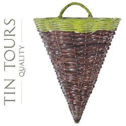 Tin tours sp.z o.o. Stożek wiklinowy na ścianę / kwietnik 31x26x42/50h cm