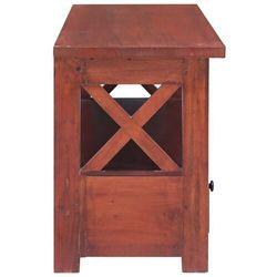 szafka pod tv, brązowa, 120x30x40 cm, lite drewno mahoniowe marki Vidaxl