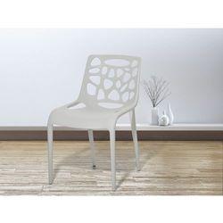 Beliani Krzesło ogrodowe - plastikowe jasnoszare - krzesło z tworzywa sztucznego - morgan