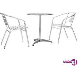 vidaXL Meble bistro z okrągłym stolikiem, 3 szt., srebrne, aluminium