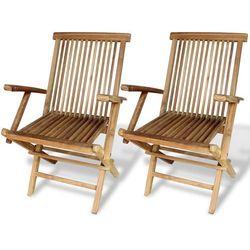 vidaXL Krzesła ogrodowe z drewna tekowego, 2 szt.