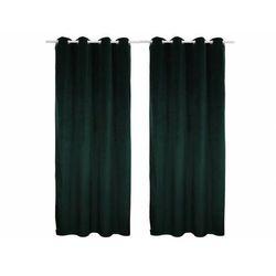 Zestaw 2 zasłon luxe – welur poliestrowy – 140 × 260 cm – kolor ciemny zielony marki Vente-unique