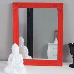 Lustro w czerwonej, drewnianej ramie, ornamenty. marki Design by impresje24