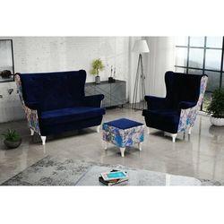 """Sofa.pl Zestaw """"riki"""" sofa + fotel+podnóżek - stalowy"""