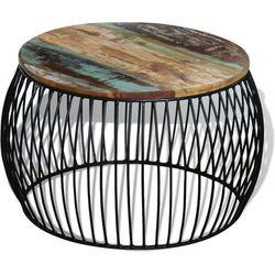 vidaXL Stolik kawowy z drewna odzyskanego, okrągły, 68 x 45 cm (8718475993889)