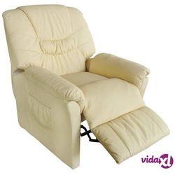 vidaXL Fotel masujący, kremowy, sztuczna skóra