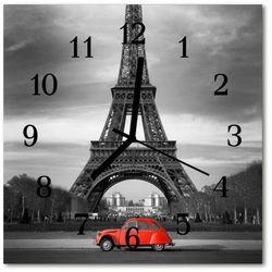 Zegar ścienny kwadrat Samochód wieża eiffla