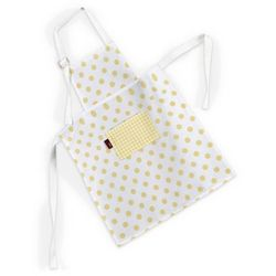 Dekoria Fartuszek dziecięcy prosty, żółte kropki na białym tle, 46x59cm, Ashley - produkt z kategorii- Fartuchy kuchenne
