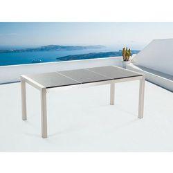 Stół szary polerowany ze stali nierdzewnej 180cm - granitowy blat - dzielona płyta - GROSSETO