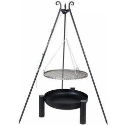 Grill FARMCOOK na trójnogu z rusztem ze stali nierdzewnej 60cm Czarny + Palenisko ogrodowe PAN 38 70cm