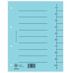 Przekładki DONAU, karton, A4, 235x300mm, 1-10, 10 kart, niebieskie