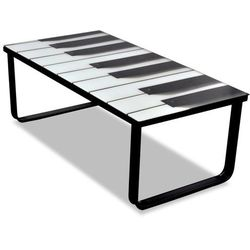 Stolik kawowy z nadrukiem klawiatury pianina, szklany blat