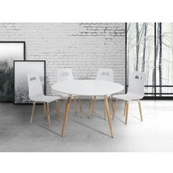 Beliani Stół do kuchni biały - 120 cm - stół do jadalni lub salonu - bovio
