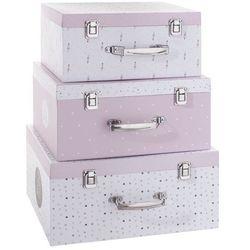 Zestaw 3 kuferków, pojemniki do przechowywania - kolor różowy