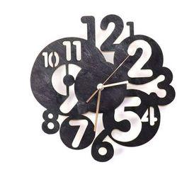 Drewniany zegar na ścianę Abstrakcja ze złotymi wskazówkami, kolor czarny