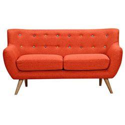 Sofa 2-osobowa z tkaniny serti - krwisto-pomarańczowy z dekoracyjnymi wielokolorowymi guzikami marki Vente-unique