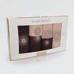 Komplet ręczników 6 szt. ZWOLTEX wzór ILUZJA czekolada/beż