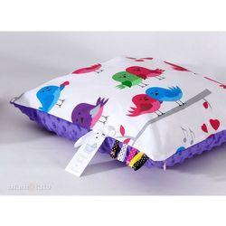 poduszka minky dwustronna 30x40 ptaszki białe / fiolet marki Mamo-tato