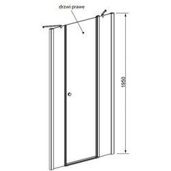 Radaway  eos ii dwjs drzwi wnękowe ze ściankami bocznymi 140 cm 3799456-01r prawe