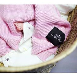 Bambusowy koc tkany - 80x100 - różowy - Lullalove, 5902633250362