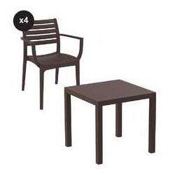 Zestaw ogrodowy Artemis stół 80 x 80 cm + 4 krzesła kolor brązowy, SIS-ZES-ART41BR
