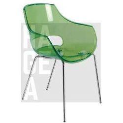 Krzesło ogrodowe do hotelu i restauracji Opal papatya zielone transparentne