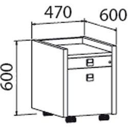 B2b partner Mobilny kontener assist - 2-szufladowy, przeszklony, dąb antracyt