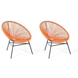 Zestaw 2 krzeseł rattanowych pomarańczowy ACAPULCO (4260586354225)