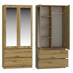 Szafa do sypialni, drzwi, lustra, 2 szuflady, 90, dąb artrisan (5902838469866)