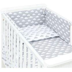 MAMO-TATO 3-el dwustronna pościel dla niemowląt Chmurki szare na bieli / Chmurki białe na szarym do łóżeczka 60x120cm
