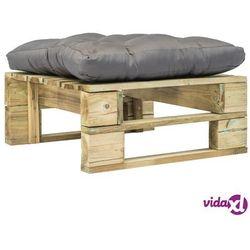 vidaXL Ogrodowe siedzisko z palet z szarą poduszką, drewno FSC