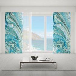 Zasłona okienna na wymiar - BLUE CLASSIC MARBLE II