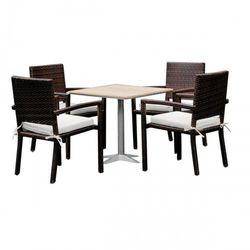 Komplet mebli ogrodowych stolik z krzesłami Gaweł z technorattanu ciemny brąz