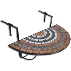 półokrągły, wiszący stolik balkonowy, mozaika od producenta Vidaxl