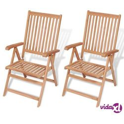 Vidaxl rozkładane krzesła ogrodowe, 2 szt., lite drewno teakowe (8718475559030)