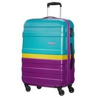 Średnia walizka AMERICAN TOURISTER 76A Pasadena turkusowo-fioletowa z żółtym pasem