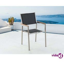 Beliani meble ogrodowe czarne - krzesło ogrodowe - balkonowe - tarasowe - gros