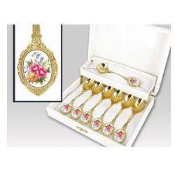 Zestaw gold 6 łyż+1 łyż do cukru Bukiet Kwiatów box