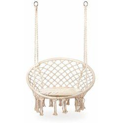 Fotel wiszący, huśtawka ogrodowa z oparciem, poduszka, beżowy marki Modernhome